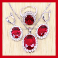 Fetching 925 Sterling Silver Red Garnet Jewelry Set For Women Crystal Rings/Earrings/Necklace Free Shipping 0074