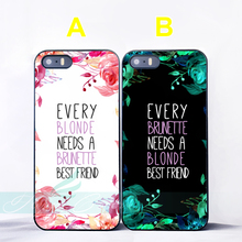 Capa Blonde Brunette Best Friend BFF Couple Coque Cases for iPhone X 8 7 6 6S Plus SE 5S 5C 5 4S 4 Case for iPod Touch 6 5 Cover(China)