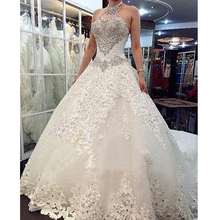 Charming Design Top Crystal Beading Luxury Wedding Dress 2016 Cathedral Train Bridal Gown 2017 Vestido De Noiva