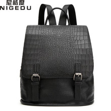 NIGEDU Brand Female Crocodile Backpack High Quality PU Leather leisure Backpack Simple and small The styles of young people(China)