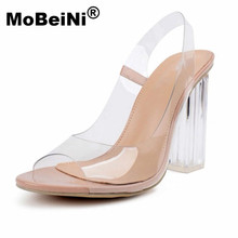 MoBeiNi NEW Women Sandals Ankle Strap Perspex High Heels PVC Clear Crystal Concise Classic High Quality Fashion Shoes size 35-40