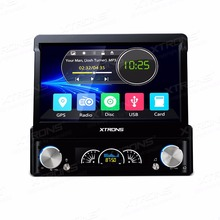 "One Din Autoradio 7"" Motorized Detachable Panel Single Din Car DVD player 1 Din Car Radio with Rhythmical/Colorized LED Display"
