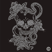 2pc/lot Tattoo Skull Snakes hot fix rhinestone transfer motifs iron on design rhinestone applique patch for shirt