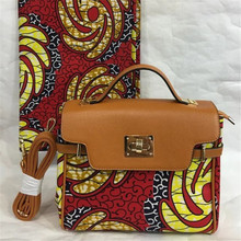 New Wax Printed Hand Bag with nice PU leather + Super real wax print one piece of 6yards Free shipping  BG1019
