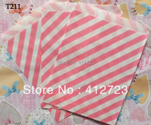 hot pink stripe Paper bags Party Treats bags Favor Goodie Bag for baby shower Christmas wedding celebration decoration 50pcs