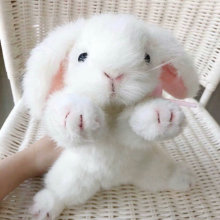 Animal-Doll Stuffed Bunny Plush White Rabbit Simulation Girl Room-Decor Neck-Bow Lifestyle