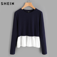 SHEIN Contrast Frill Trim Rib Knit T-shirt 2017 Casual T shirt for Women Navy Color Block Long Sleeve Woman T shirt Top(China)