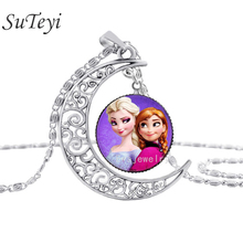 SUTEYI Fashion The Silver Moon Pendant Necklace Vintage Style Snow Elsa Queen Anna Princess Purple Art Glass Necklace(China)