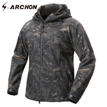 S.ARCHON Brand Clothing Soft Shell Tactical Camouflage Jacket Men Waterproof Army Military Jacket Winter Camo Hoodie Fleece Coat(China)