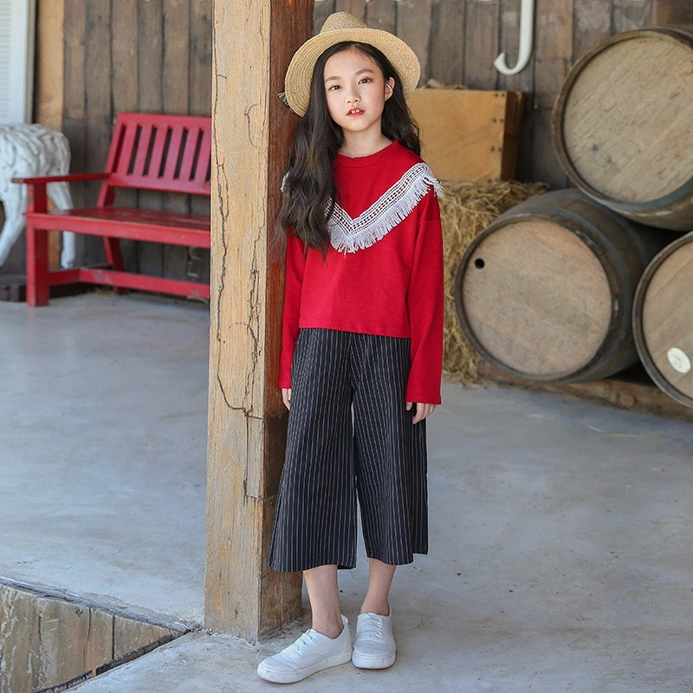 tassels kids clothes girls striped pants clothing sets sports big girls clothes suits cotton hoodies tops loose pants set 2018<br>