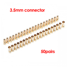 50pairs/lot 3.5mm Gold Bullet Banana Connector Plug Male Female for ESC Motor Lipo RC battery Part Good Quality