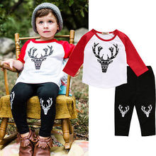 Newborn Baby Boys Deer Outfit Long Sleeve T-shirt Tops+ Pants Leggings Clothes Set Boys Christmas Clothing Set 0-6Y Xmas