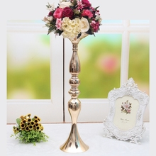 "Gold candle holder 50cm/20"" metal candlestick flower vase wedding table centerpiece event flower rack road lead 10 pcs/ lot(China)"