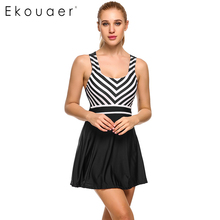 Ekouaer Summer Swimwear Sexy Women 2017 Plus Size One Piece Swimsuit 1 Piece Female High Waist Padded Striped Swim Suit Dress(China)