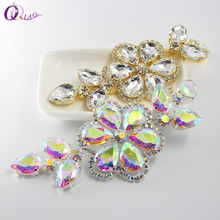 QIAO 5.5x13cm 4C Glass Rhinestone Applique Accessory Sew On Crystals Stones for Clothes Wedding decoration art crafts(China)