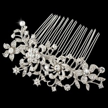 Bella 2015 New Spring Vintage Inspired Bridal Jewelry Flower Hair Comb Pin Austrian Crystal Wedding Accessories For Women