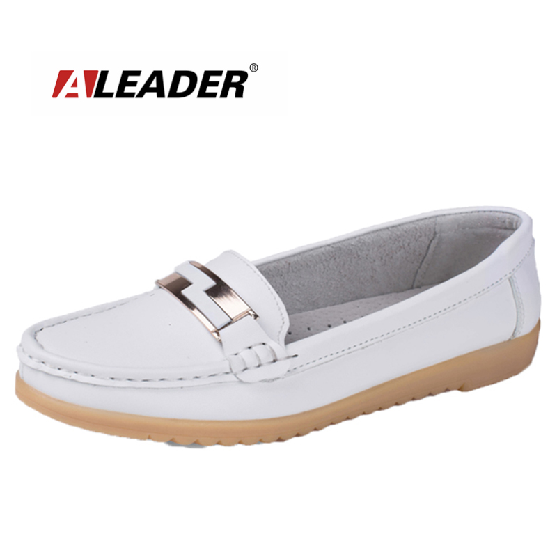 Aleader Casual Shoes For Women Genuine Leather Loafers 2016 Summer Fashion Ladies Slip-up Walking Shoes Flats Shoes Mocassins<br>