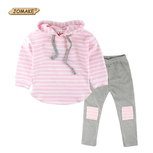 Classic Striped Baby Girl Clothing Set Spring Retail 2Pcs Hooded Sweatshirts+Leggings Pants Girls Clothes Sets Casual Kids Suits(China)