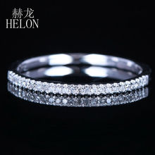 HELON Natural Diamonds Wedding Band Classic Solid 10k White Gold Half Eternity Band Engagement Anniversary Ring Women's Jewelry