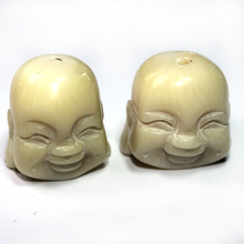 Free Shipping Fine Hand Carved White Natural Coral Smiling Buddha Head Buddhist Carving Craft Beads