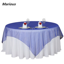 wedding crystal shiny organza table overlay bright organdy table cloth free shipping(China)