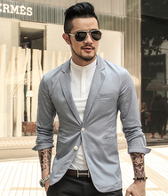 Black Business Casual Men's Suit thin Jacket Men Blazer Slim Fit Cotton Men's Leisure Suits Blazer Big Size 2016 New Spring(China)