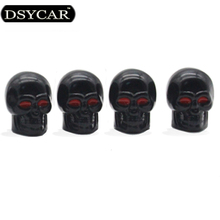DSYCAR 4Pcs/lot Universal Skull Car Moto Bike Tire Wheel Valve Cap Dust cover Car Styling for Fiat Audi Ford Bmw toyota Honda VW(China)