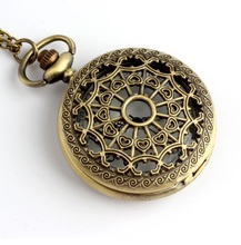 New Vintage POCKET WATCH women chain necklace HOLLOWED HEARTS WEB bronze style Jewelry Dropshipping