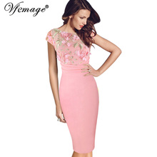 Vfemage Women Sexy Elegant Floral Applique embroidery Ruched Party Sheath Special Occasion Bridesmaid Mother of Bride Dress 3197(China)