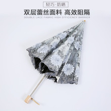 High grade lace Summer women anti UV dual folding umbrella ultra light handmade embroidered sunny and rainy umbrella(China)