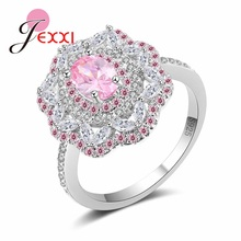 JEXXI New 2017 Trendy Women Jewelry Hollow Pink/White CZ Flower Ring 925 Sterling Silver Brand Bijoux for Wedding Engagement(China)