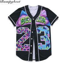 Baseball Jersey T Shirt Mens Buttons Homme 3D Shirt Streetwear Tees Shirts Hip Hop Prince Custom Made Baseball