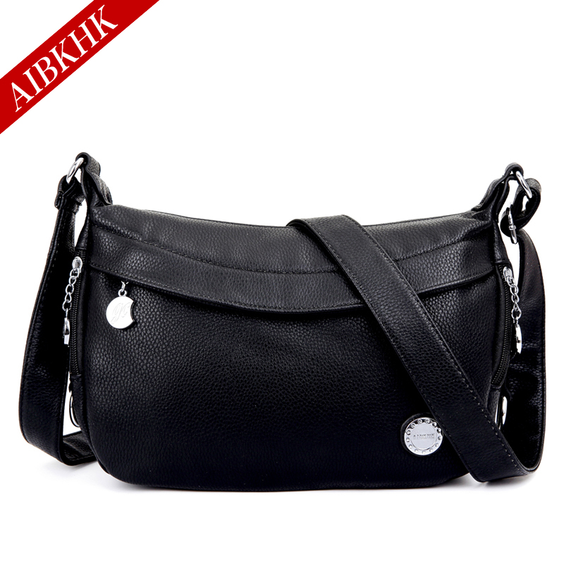 2017 AIBKHK Designer Bags Famous Brand Women Bags Black Split Leather Handbags Brown Crossbody Bags for Mid-Aged Women<br>
