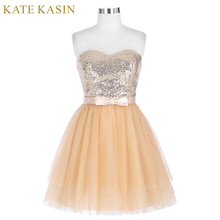 Kate Kasin Short Cocktail Dresses 2017 Sequins Pink Tulle Party Dress Special Occasion Dresses Apricot Cocktail Gown 0114(China)