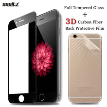 Soultz 3D Carbon Fiber Clear Back Protective Guard + Full Tempered Glass for iPhone 6 6s 7 Plus Screen Protector Protective Film(China)
