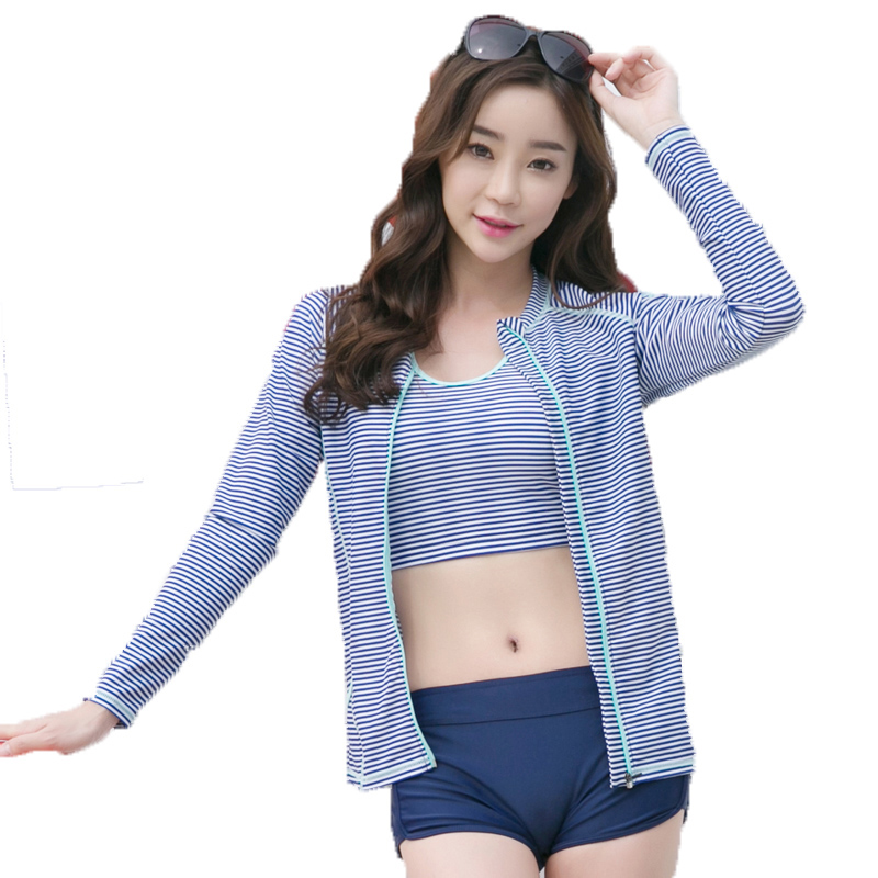Summer Beach High Quality 3 Pieces Navy Blue Striped Sexy Women Bikini Swimwear with Long Sleeves Zipper Swimsuit Bathing Suit<br>