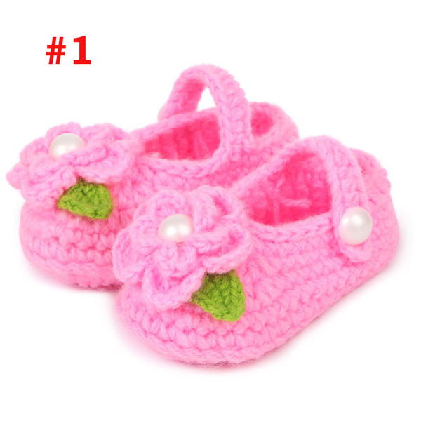 Crochet Baby Shoes 7 Colors Cotton Caddice knitted Newborn First Walkers Shoes 0-12 Months Girls flower shoes 1 Pairs Retail(China (Mainland))