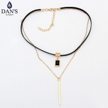 DAN'S New Fashion Retro Geometric star Pendant Collar Double chains leather simple choker necklace gift for women girl 122778(China)
