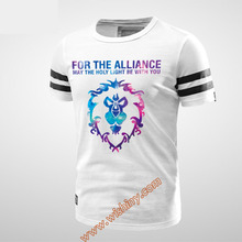 Quality WOW Alliance Lion tee For the Alliance Logo T-shirt Men Boy Youth 100% Cotton 3xl White Black T-Shirts(China)