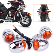 4Pcs Silver Chrome Plate Bullet Turn Signal Lights Indicator Lamp Fit for Motorcycle Harley Dirt Bike Honda Guzzi Triumph Ducati
