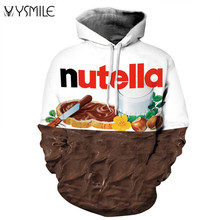 2017 Nutella Pattern Men&Women Hoodies Couples Casual Style 3D Print Personality Autumn Winter Sweatshirts Hoody Tracksuits Tops(China)