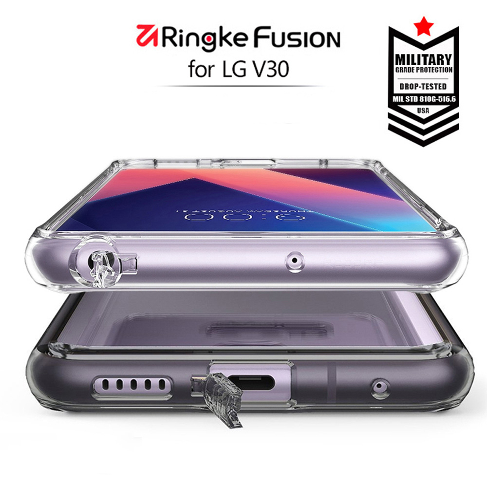Ringke Fusion Case LG V30 Case Crystal Clear Back Cover Soft TPU Frame Hybrid Silicone Case V30 Plus
