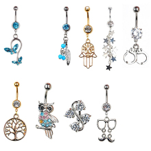 Rhinestone Inlaid Dangle Body Piercing Belly Button Bar Navel Ring Jewelry