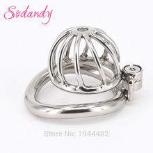 Buy SODANDY Chastity Devices Male Small Penis Lock Stainless Steel Chastity Belt Metal Cock Cage Men Curved Penis Rings