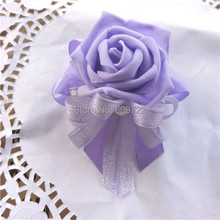 New 7cm PU Prom Handmade 10PCS Boutonniere Pearl Wedding Church Decor Artificial Rose Corsage Wrist Flower Purple FL1547