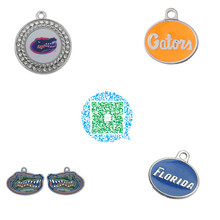 Skyrim 20Pcs/lot UF University of Florida Gators Clear Crystals Colored Enamel Logo Charms Zinc Alloy Christmas Pendant for Fans(China)