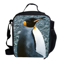 Fashion Cute Mini Animal Print Lunch Box Bag Penguin Print Cooler Lunch Bag For Kids Boys Girls Personalized Insulated Lunch Bag