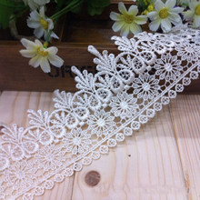 15 Yards Crochet Flower Embroidered Lace Edge Trim Applique DIY Ribbon Wedding Fabric Sewing Craft
