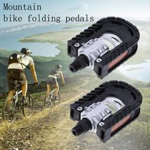 1 Pair Bike Pedals Universal Aluminum Alloy Mountain Bike Bicycle Folding Non-slip Pedals MTB Bicyle Accessories Parts
