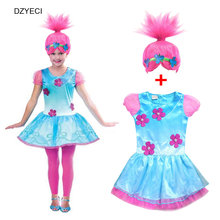 Trolls Costume For Teen Girl Dress Wig New Children Poppy Party Lace Frock Clothes Kid Deguisement Elza Carnaval 10 11 12 Year